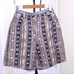 Flower print vintage high waisted shorts